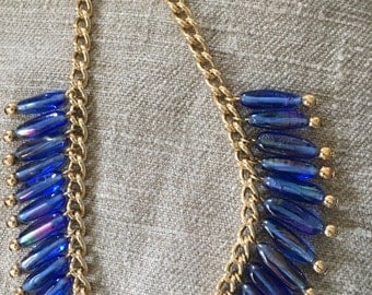 1970's Petrol Blue Glass Choker