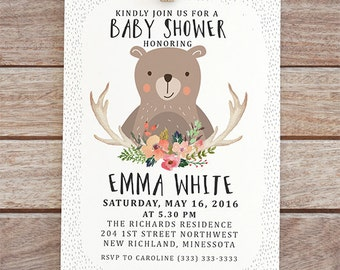 woodland baby shower invitation forest invite woodland