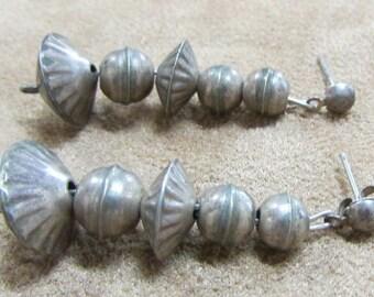 Sterling Silver Bead Dangle Post Earrings