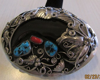 Nickel Belt Buckle with Turquoise Coral and Faux Bear Claw