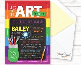 Art Birthday Party Invitation / Art Party Invitation / Rainbow Birthday / Rainbow Party / Kids Birthday Party Invitation / PRINTABLE