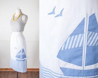 Plus Size SAILBOAT Skirt, Novelty Print Vintage 70s Skirt, High Waist Skirt, Midi Skirt, Nautical Skirt, Striped Skirt, Chambray Skirt