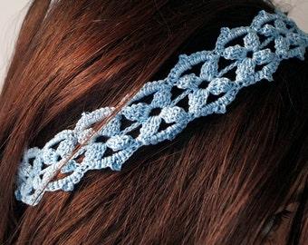 Sky blue embroidered headband | Lydia