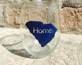 HOME state outline wine glass