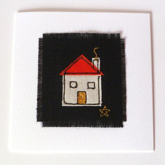 New home card with embroidered house design. Handmade