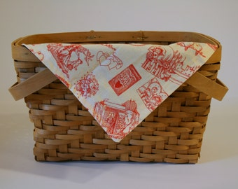 Valentine Cloth Napkin | Snack mat - Off white with red design and brown backing