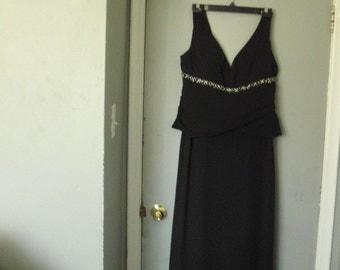 Black vintage long dress with jacket