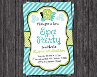 Spa Party Invitation - Spa Birthday Party Invitations