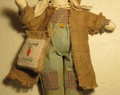Primitive Country Vintage Looking Muslin Rabbit Spring  Easter Summer or Fall Decor USA Made