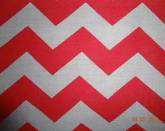 """7/8 Yard of Red and Gray Chevron Print Fabric - Approx. 60"""" wide"""