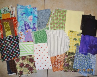 Grab Bag Collection of Cotton Fabric Scraps - lady bugs polka dots & more