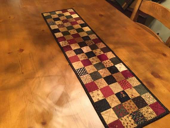 Quilted Table Runner Primitive Table Runner Country Quilt