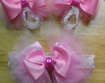 Pink Baby Bare Foot Sandals With Matching Headband Sets