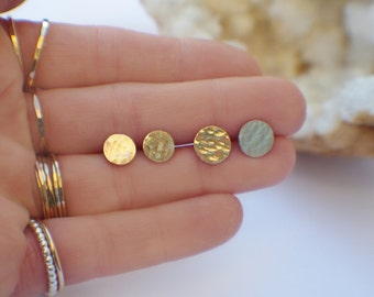 Medium-Sized Gold Circle Stud Earrings - Hammered 14K Gold Discs & Sterling Silver Posts