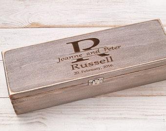 Personalized Wine Box Anniversary Wine Box Ceremony Wedding Wine Box Time Capsule  Rustic Wine Box Fight Box Memory Box Wine Wood Box