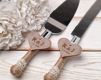Personalized Cake Serving Set Cake Servers ade Knives Cake Server Set Wedding Cake Server Set Cutting Set Rustic Knife Set Rustic Wedding