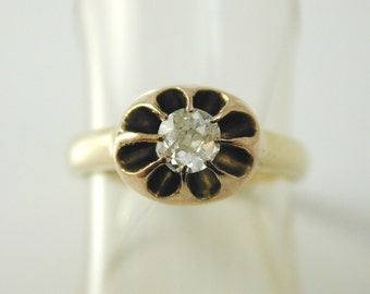 Antique diamond daisy solitaire old mine cut ring 0.25 carats fabulous setting