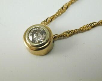 """Diamond solitaire necklace pendant 18 carat gold 0.28cts Anchorcert 16 1/2"""""""