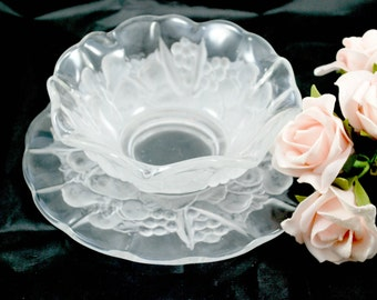 Mikasa Glass Bowl and Serving Plate , Harvest Pattern