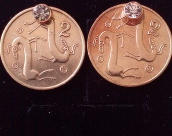 Coin jewelry-Earrings from Vintage coins Cyprus,Fantasy coin jewelry, One of a kind. Free shipping!