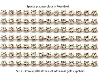 Rose gold plated cup chain set with SS12 (3mm) crystal stones.  Price is for 1 meter of chain.