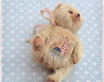 NOT FOR SALE Mohair Teddy Bear lighthouse embroidery