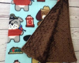 Fleece Dog Blanket with Brown Minky, Fleece Blue, Fleece Pet Blanket, Dog Blanket, Crate Blanket