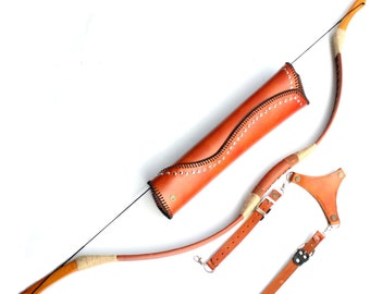 MAYARMS Mongolian Longbow Archery Bow Set Traditonal Wooden Longbow Archery Arrows Archery Quiver Leather Recurve Bow Color Brown 20-80lbs