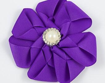 Purple Hair Bow, Purple Flower Hair Bow, Purple Envelope Flower Hair Bow, Purple Flower Bow, Purple Flower Hair Clip (Item #10270)