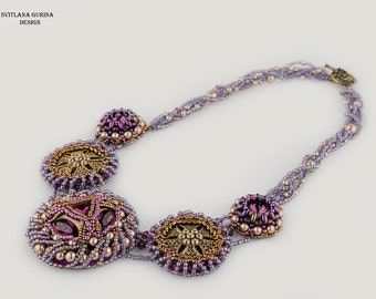 Ancient style Fall colors autumn necklace Dramatic dark purple amethyst plum antique bronze chain embroidered Baroque Round brass Evening