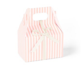 Favor Boxes, Mini Gable, Pink Candy-Striped with Ivory Ribbon // set of 8