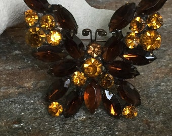 Amber Butterfly Brooch, Rhinestone Butterfly Brooch, Butterfly Jewelry