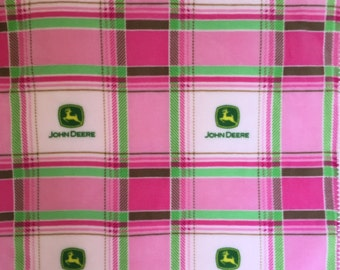 Pink and green John Deere plaid