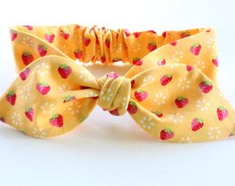 Baby headband, infant headband, adult headband - yellow strawberry