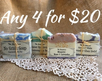 Select Four Bars of Natural Soap - Your  Choice for Twenty Dollars
