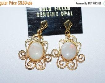 EARLY CHRISTMAS SALE Vintage, Elegant Opal Filigree Earrings (1017311)