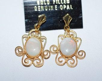 Vintage, Elegant Opal Filigree Earrings (1017311)