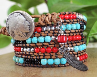 Spectacular Native American Wrap Bracelet With Coral And Turquoise Beads.