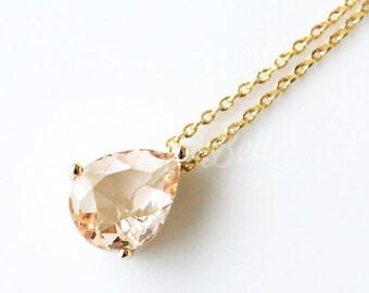 Dainty peach teardrop necklace, Peach necklace, Bridesmaid gift, Peach wedding jewelry, Bridal Peach jewelry, Peach stone necklace
