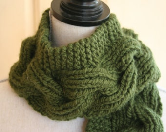 Handknit Forest Green Cabled Scarf / Hand Knit Scarf / Green Scarf / Chunky Handknit Scarf
