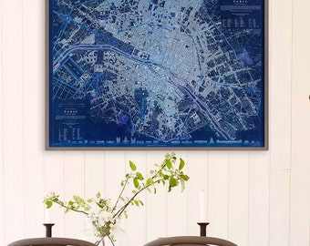 "Paris map 1834, Old Map of Paris, Blue or Sepia, 3 sizes up to 40x30"" (100x75 cm) Stylish map of Paris, France - Limited Edition of 100"