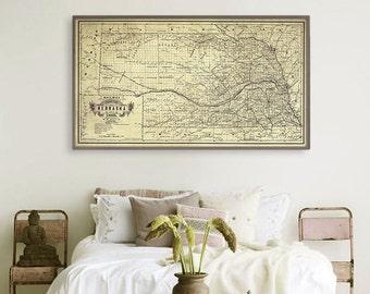 "Map of Nebraska 1889, Vintage Nebraska map, in 3 sizes up to 54x30"" Large Nebraska state map, also in blue - Limited Edition of 100"