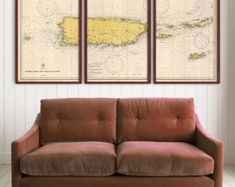 "Puerto Rico map 1933 Vintage nautical chart of Portorico and Virgin Islands 4 sizes up to 96x48"" in 1 or 3 parts - Limited Edition of 100"