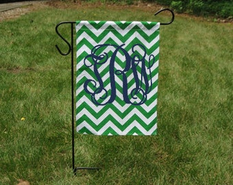 Green Chevron Monogrammed Garden Flag-Customized Garden Flag-Monogrammed Flag-Personalized Flag