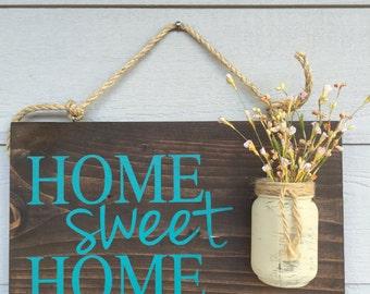 Rustic Outdoor Teal Home Sweet Home   Wood Signs   Front Door Sign   Rustic  Home