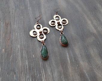Clover-quatrefoil, earrings St. Patrick, green earrings