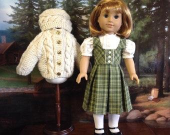 American Girl Irish Sweater and Green Plaid Jumper Set