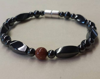 Magnetic Hematite Bracelet Black hematite and Goldstone gemstone accent .magnetic therapy bracelet, magnetic jewelry with magnetic clasp
