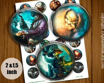 Pirates Digital Collage Sheet 2 inch 1.5 inch Printable circle images for Pocket Mirrors Magnets Labels Pendant - 156