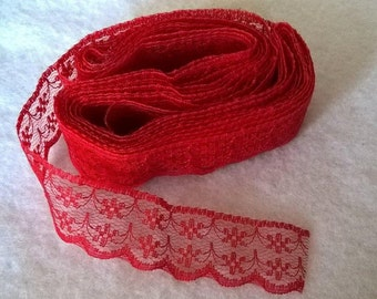 5 Yrds Of Beautifully Embroidered Red Lace